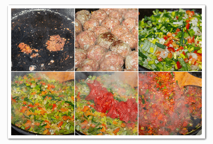 veggies and meatballs cooked