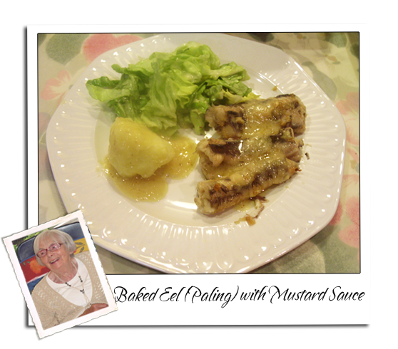 Eel (paling) baked  with Mustard Sauce (Dutch)